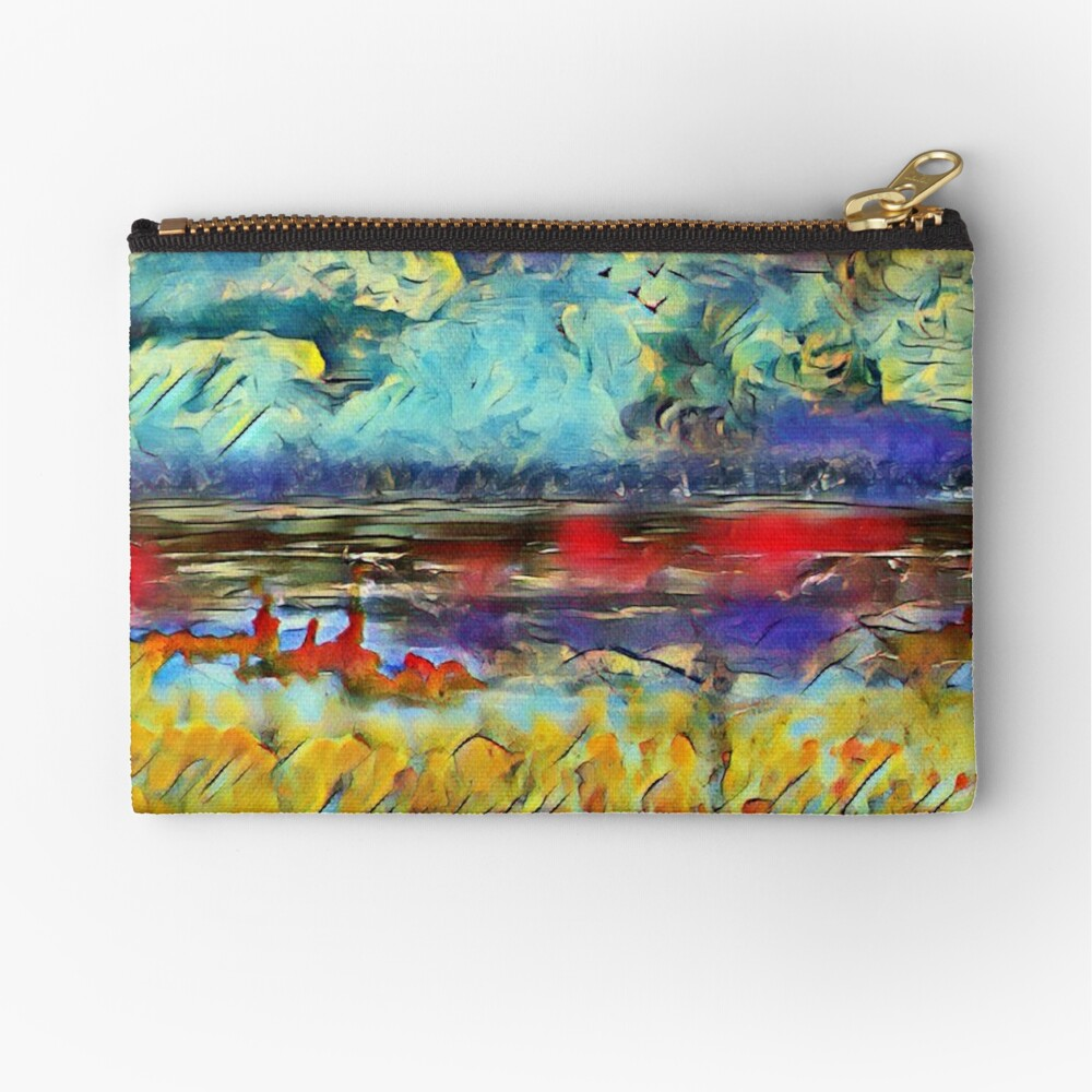 Seascape 1 a lovely original artwork created in acrylic and mixed media with a sprinkling of digital designed by (c) Janet Watson Art xx Zipper Pouch