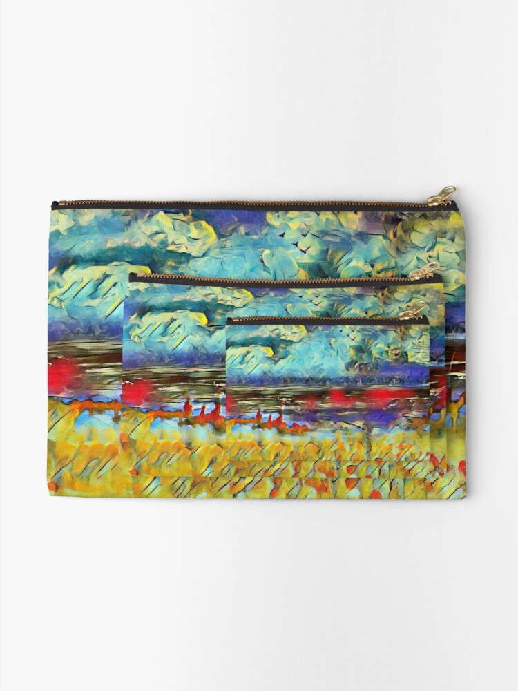 Alternate view of Seascape 1 a lovely original artwork created in acrylic and mixed media with a sprinkling of digital designed by (c) Janet Watson Art xx Zipper Pouch