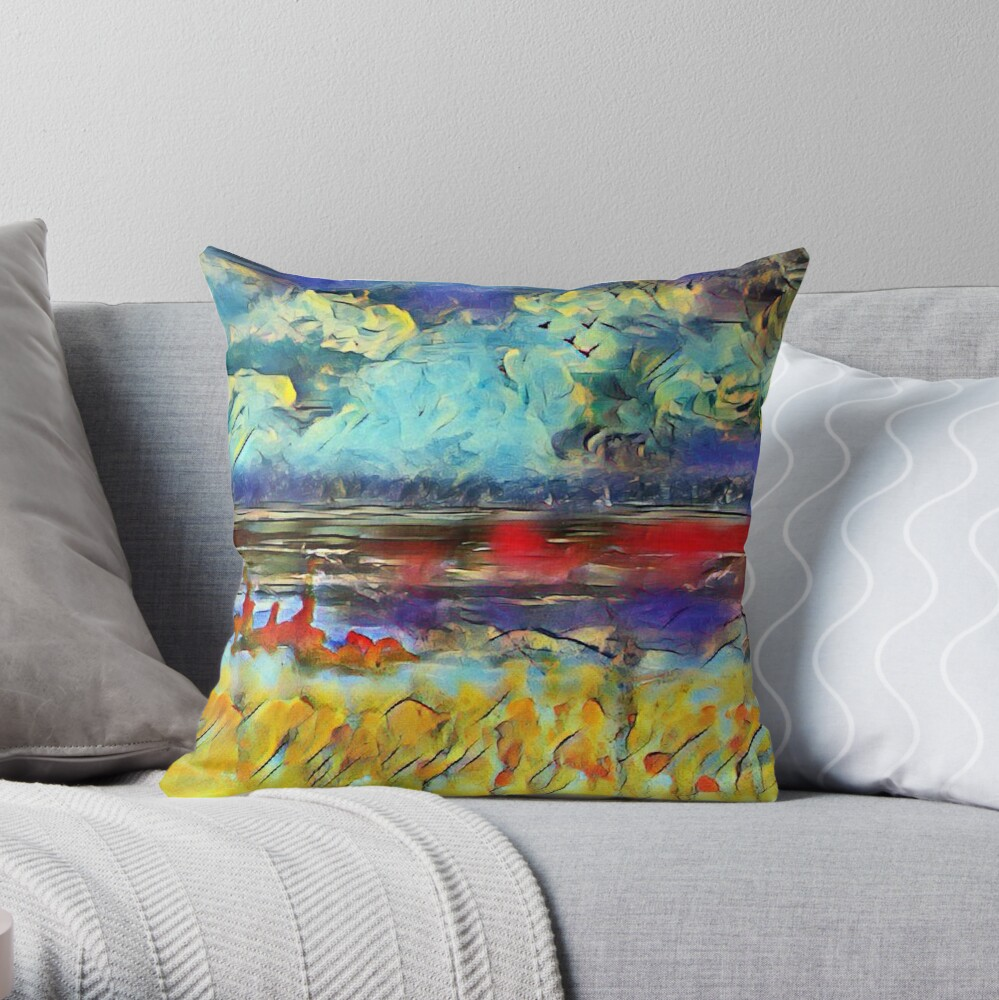 Seascape 1 a lovely original artwork created in acrylic and mixed media with a sprinkling of digital designed by (c) Janet Watson Art xx Throw Pillow