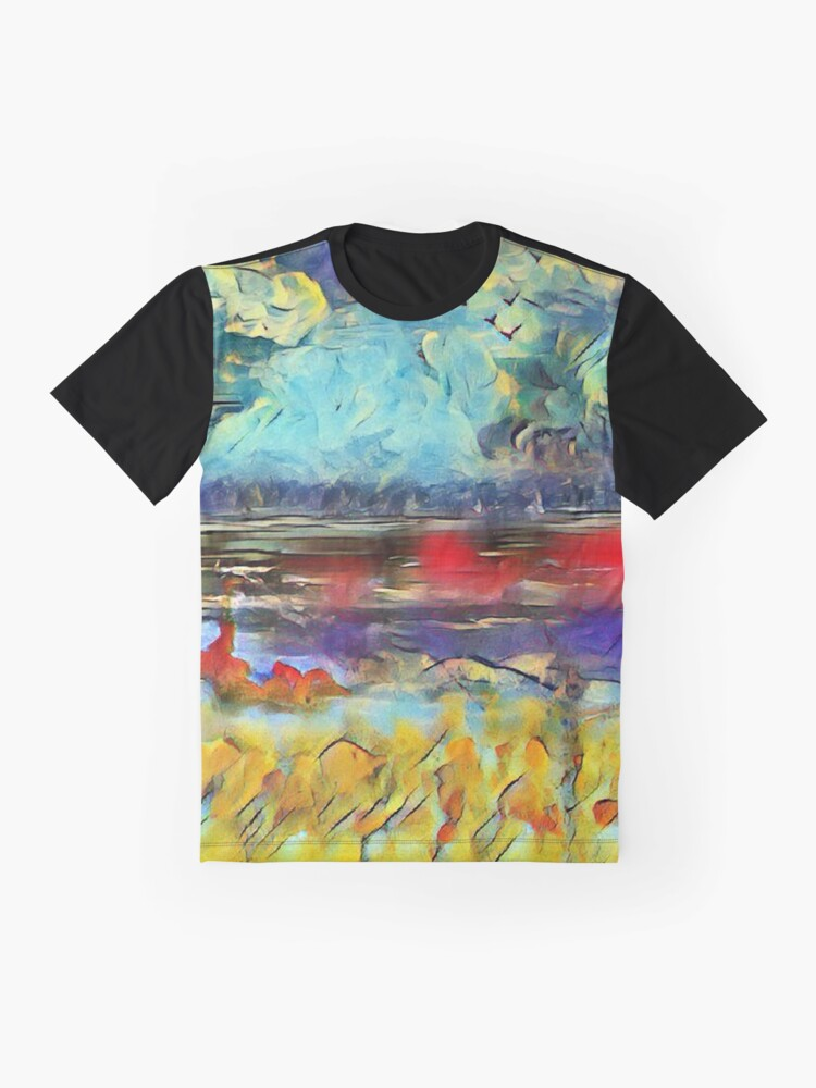 Alternate view of Seascape 1 a lovely original artwork created in acrylic and mixed media with a sprinkling of digital designed by (c) Janet Watson Art xx Graphic T-Shirt