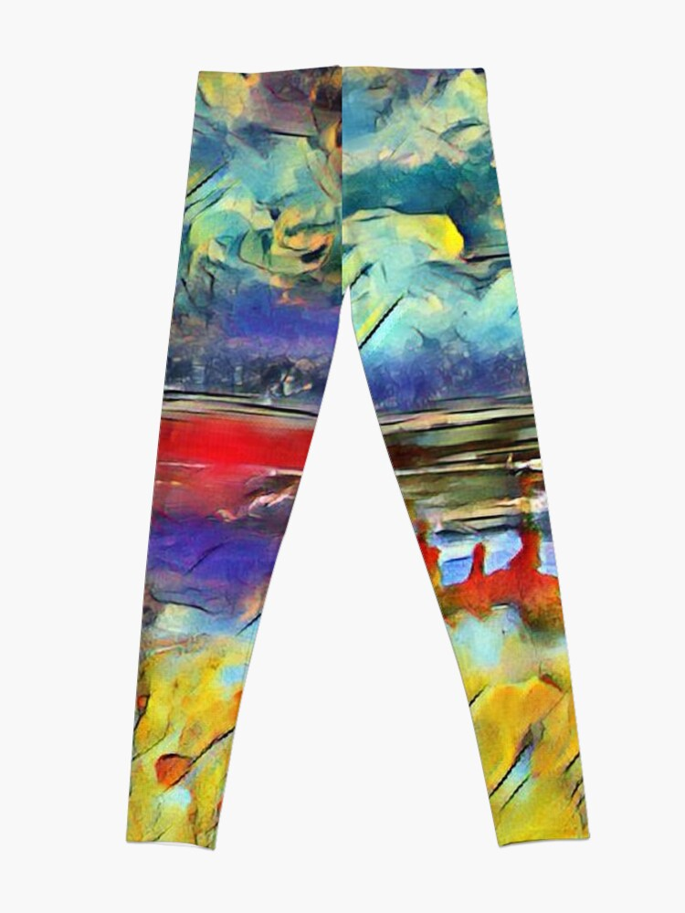 Alternate view of Seascape 1 a lovely original artwork created in acrylic and mixed media with a sprinkling of digital designed by (c) Janet Watson Art xx Leggings