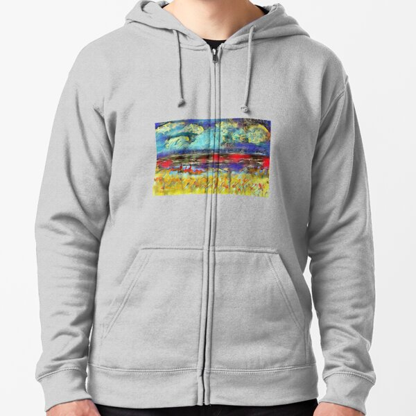 Seascape 1 a lovely original artwork created in acrylic and mixed media with a sprinkling of digital designed by (c) Janet Watson Art xx Zipped Hoodie