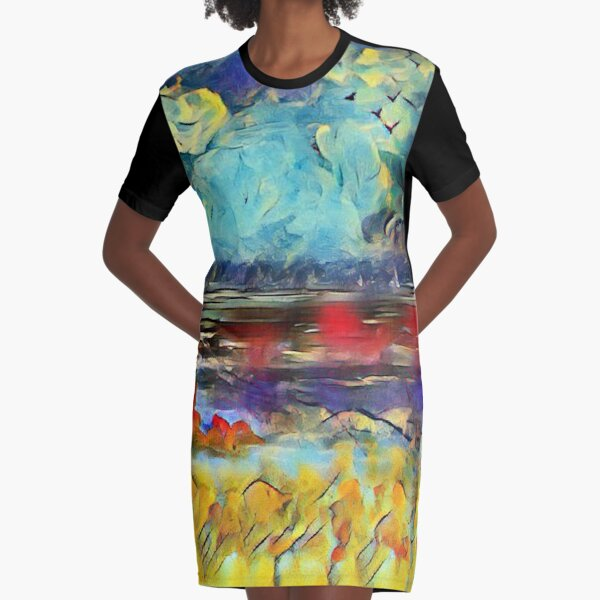 Seascape 1 a lovely original artwork created in acrylic and mixed media with a sprinkling of digital designed by (c) Janet Watson Art xx Graphic T-Shirt Dress
