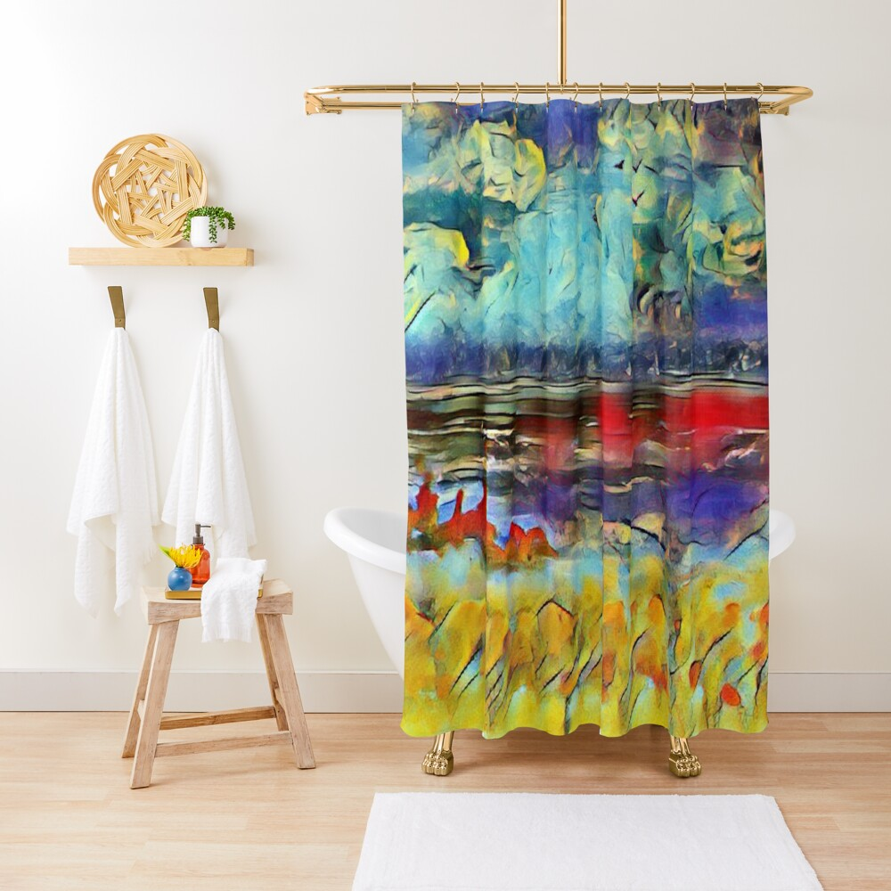 Seascape 1 a lovely original artwork created in acrylic and mixed media with a sprinkling of digital designed by (c) Janet Watson Art xx Shower Curtain