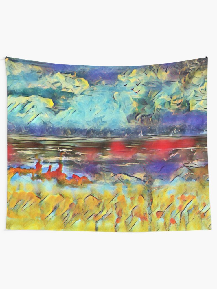 Alternate view of Seascape 1 a lovely original artwork created in acrylic and mixed media with a sprinkling of digital designed by (c) Janet Watson Art xx Tapestry