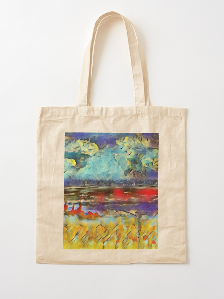 Alternate view of Seascape 1 a lovely original artwork created in acrylic and mixed media with a sprinkling of digital designed by (c) Janet Watson Art xx Tote Bag