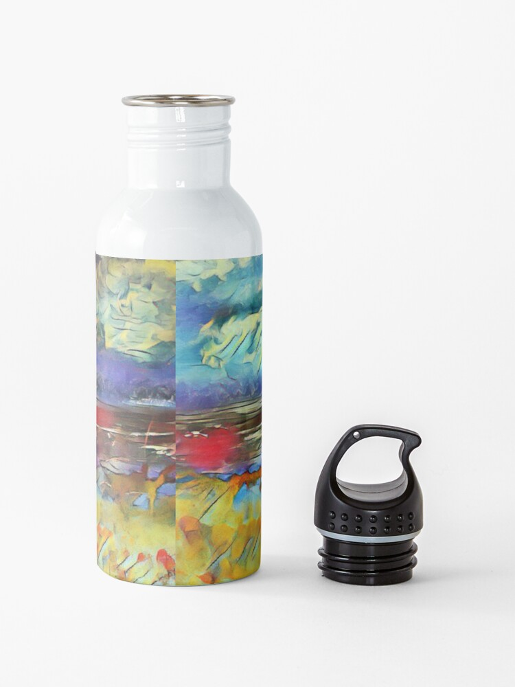Alternate view of Seascape 1 a lovely original artwork created in acrylic and mixed media with a sprinkling of digital designed by (c) Janet Watson Art xx Water Bottle