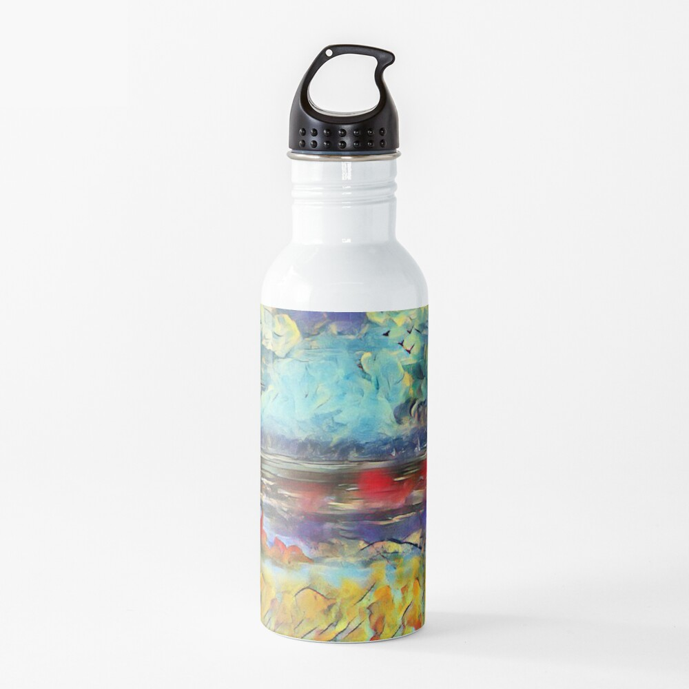 Seascape 1 a lovely original artwork created in acrylic and mixed media with a sprinkling of digital designed by (c) Janet Watson Art xx Water Bottle