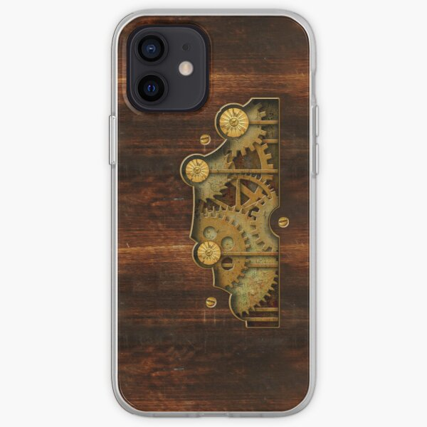 Brass and old wood Steampunk cover iPhone Soft Case