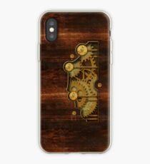 Vinilo o funda para iPhone Cubierta de Steampunk de latón y madera vieja
