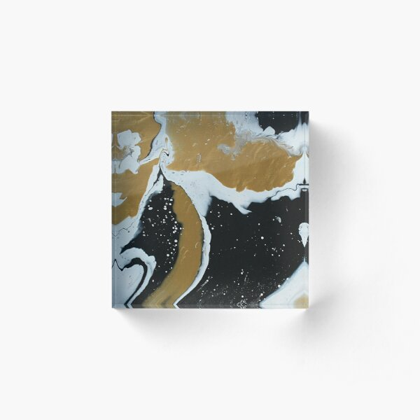 Gold, Black, and White Pour Painting Acrylic Block