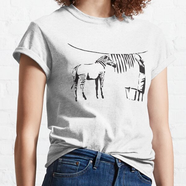 Banksy Graffiti Zebra stripes on a clothing line and a woman with signature Banksy tag Classic T-Shirt