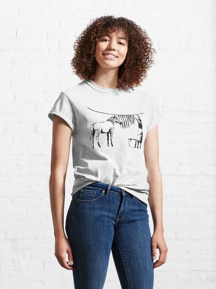 Alternate view of Banksy Graffiti Zebra stripes on a clothing line and a woman with signature Banksy tag Classic T-Shirt