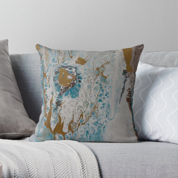 Teal, Gold, White, and Brown Pour Painting Throw Pillow