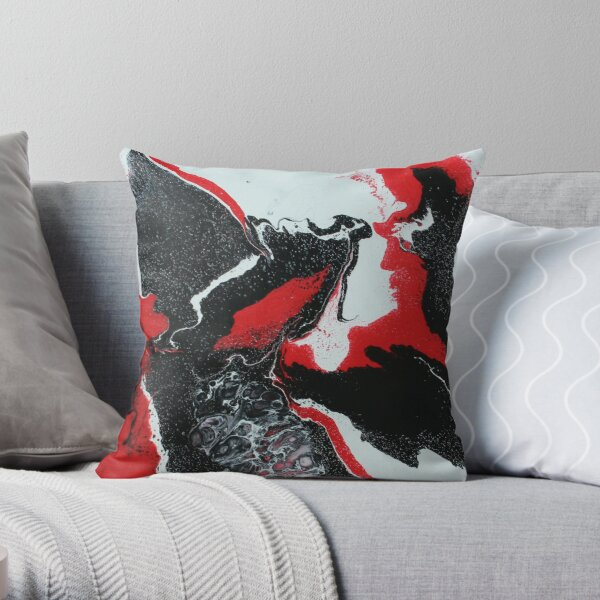 Red, Black, and White Pour Painting Throw Pillow