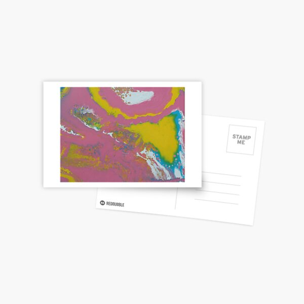 Pink, Yellow, Teal, and White Artwork Postcard
