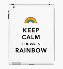 Keep Calm Rainbow on white iPad Case/Skin