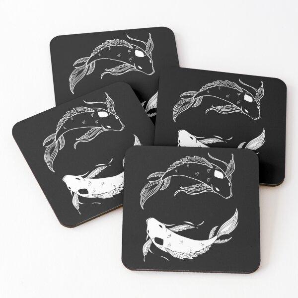 white on black spirit fish atla Coasters (Set of 4)