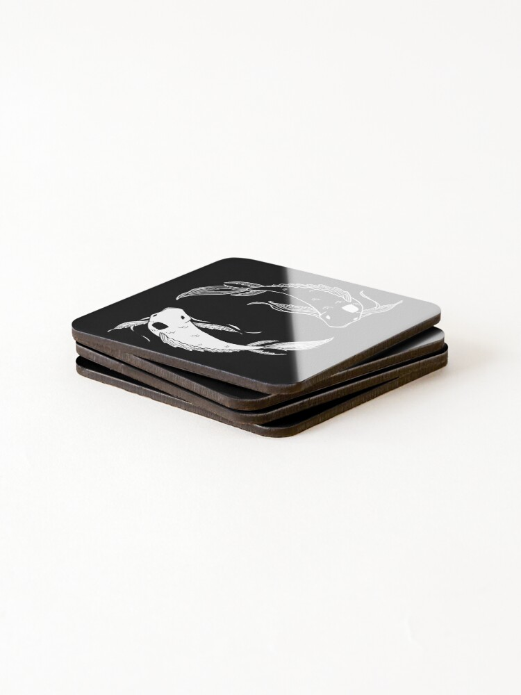Alternate view of white on black spirit fish atla Coasters (Set of 4)