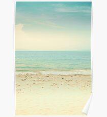 Mint Pastel Pale Blue Beach  Poster