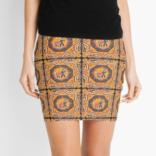 Elephant Mandala orange red black design Mini Skirt