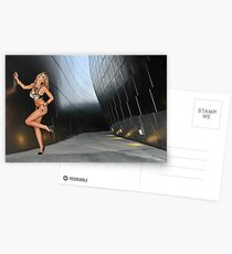 Blond girl in lingerie at LA cityscapes 3 Postcards