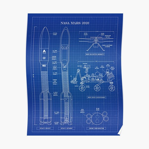 NASA Mars 2020  (Blueprint-Vertical-English) Poster