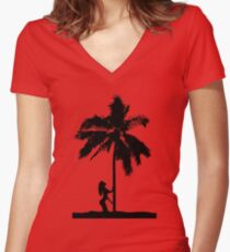 palm woman Women's Fitted V-Neck T-Shirt