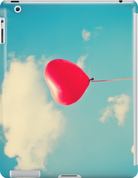 Love is in the air (Red Heart Balloon on a Retro Blue Sky) by Caroline Mint