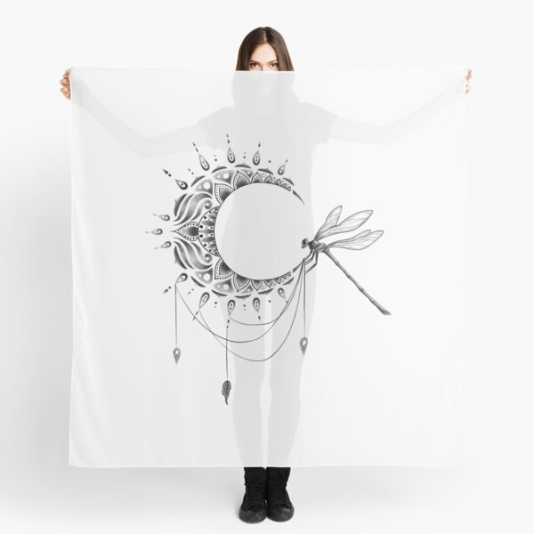 Intricate Half Crescent Moon with Dragonfly Tattoo Design Scarf