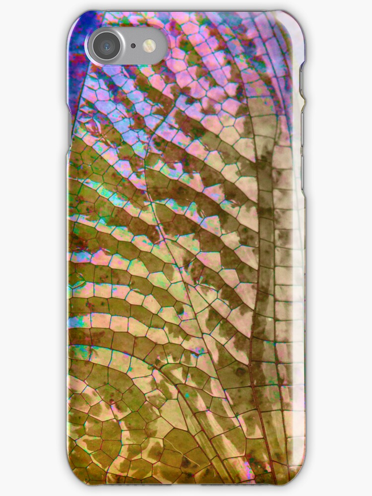 Colored Dragon Fly Wing iphone case  by susan stone