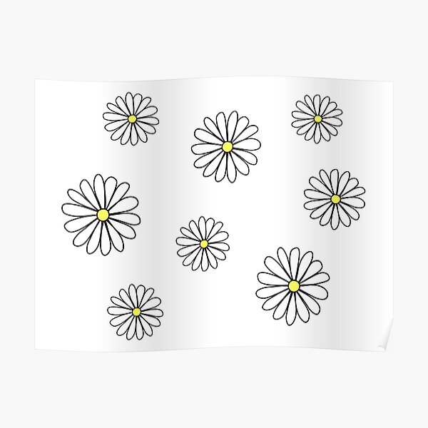 White Daisy doodle  Poster