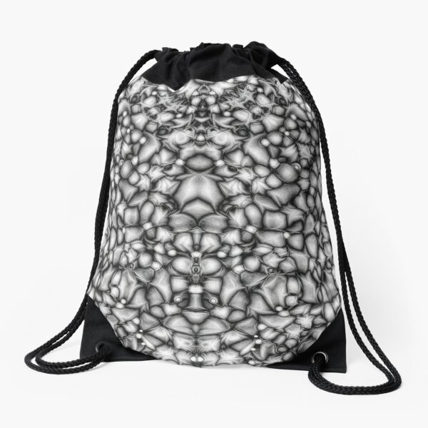 Black And White Abstract Drawstring Bag