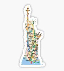 Statue of Liberty NYC subway map Sticker