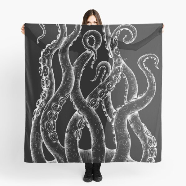 White Tentacles Ink Octopus Black Scarf