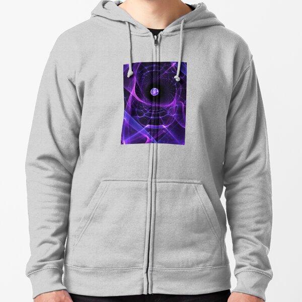 Wormhole - Fractal Alien Scifi Scene  Zipped Hoodie