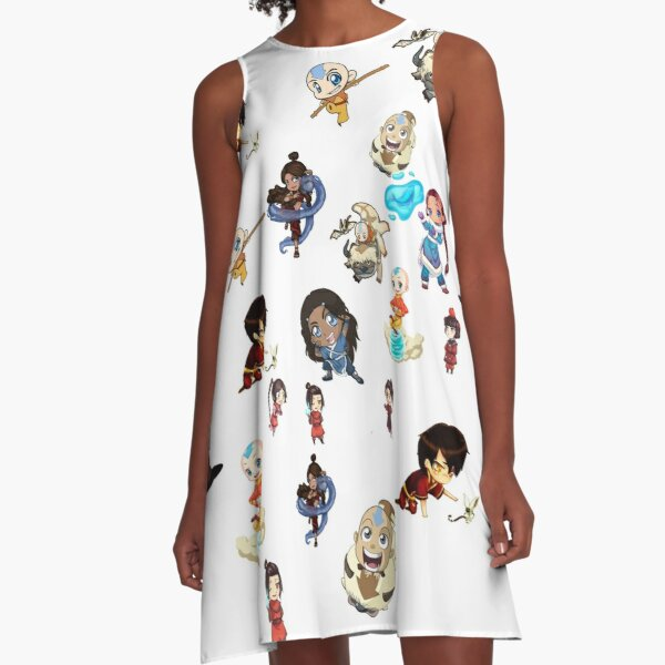 avatar the last airbender chibi mix collection A-Line Dress