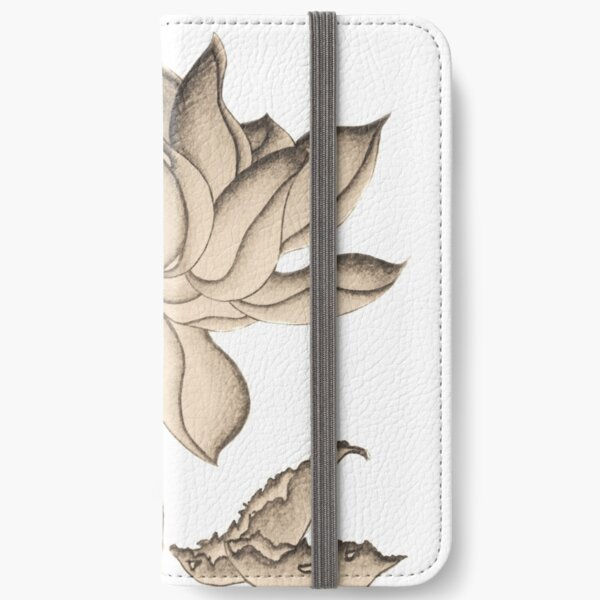 Lotus-like Flower (Sepia adjacent design) iPhone Wallet