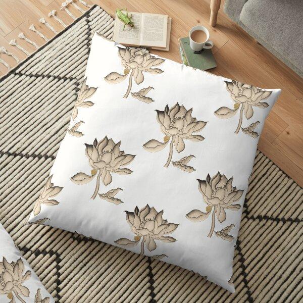 Lotus-like Flower (Sepia adjacent design) Floor Pillow