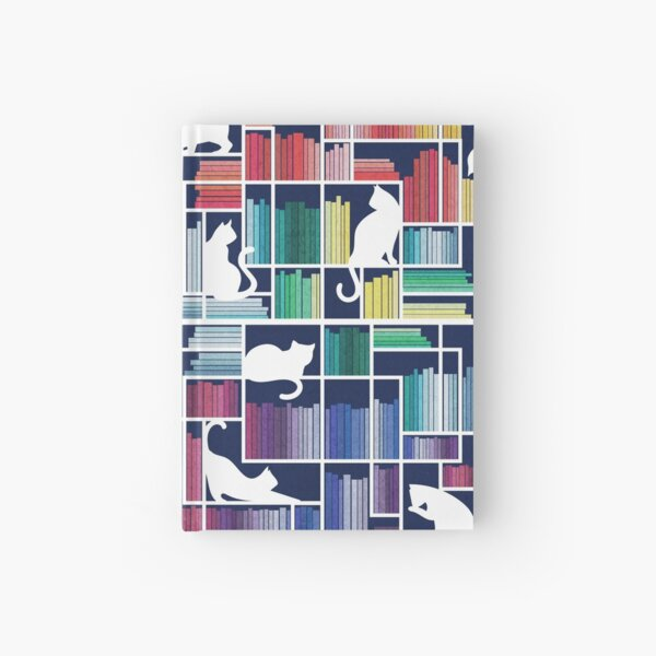 Rainbow bookshelf // navy blue background white shelf and library cats Hardcover Journal