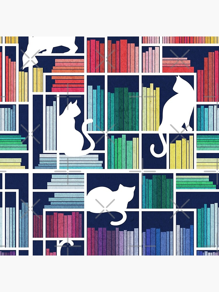 Rainbow bookshelf // navy blue background white shelf and library cats by SelmaCardoso