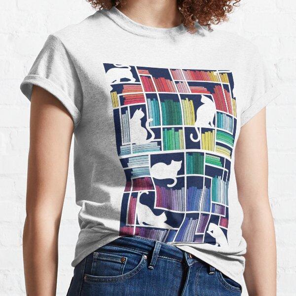 Rainbow bookshelf // navy blue background white shelf and library cats Classic T-Shirt