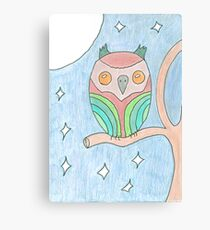 Colourful Owl Original Drawing Canvas Print