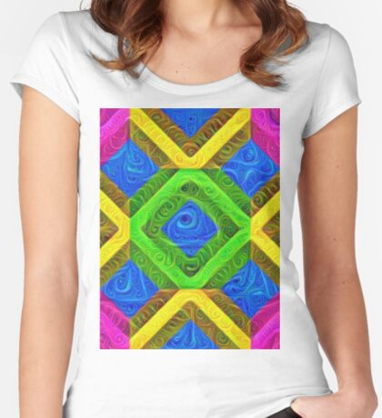#DeepDream Color Squares Visual Areas 5x5K v1448364075 Fitted Scoop T-Shirt