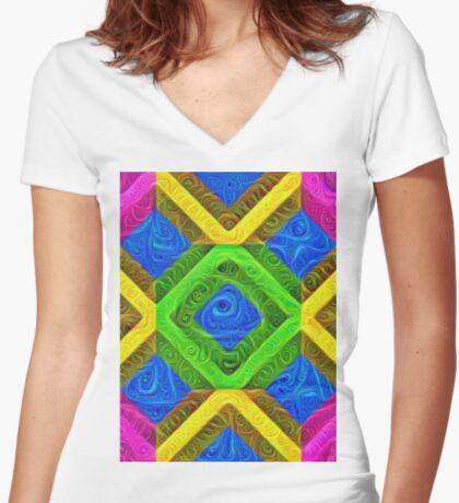 #DeepDream Color Squares Visual Areas 5x5K v1448364075 Fitted V-Neck T-Shirt