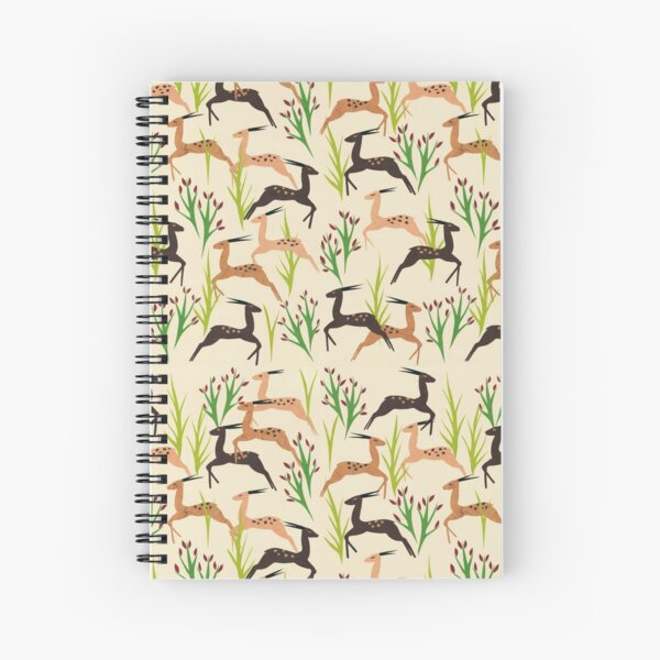 Ivory Leaping Deer Spiral Notebook