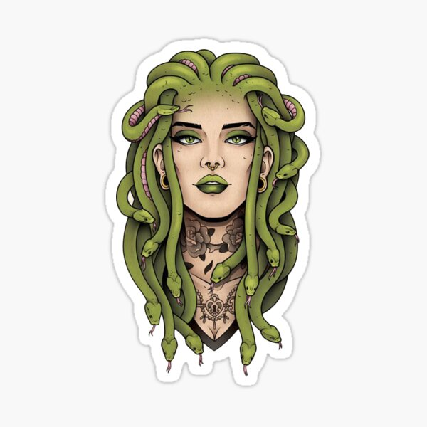 Medusa Head Print Sticker