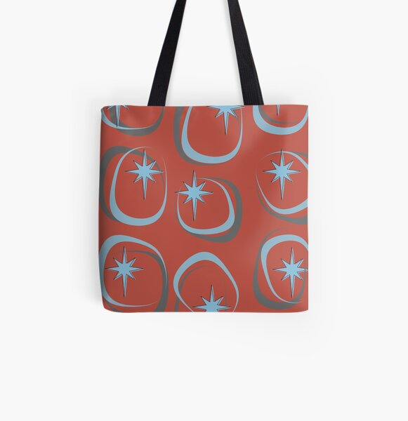 Blue Star (on Red) All Over Print Tote Bag
