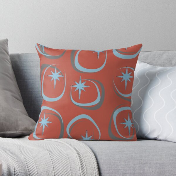 Blue Star (on Red) Throw Pillow