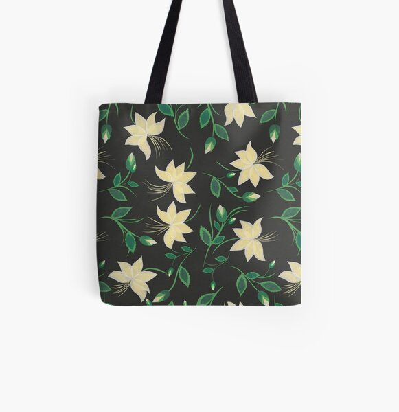 Ivory Nouveau Blooms All Over Print Tote Bag